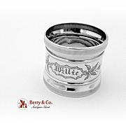 Floral Napkin Ring Coin Silver 1875