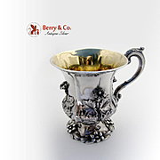 Magnificent Georgian Floral Repousse Cup Sterling Silver Richard Pierce George Burrows III 1834
