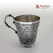 Ornate Floral Scroll Chased Cup French First Standard Sterling Silver Ladoucette Garvard 1877