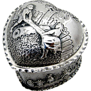 Heart Form Happy Village People Dresser Box Sterling Silver William Hutton Sons 1891