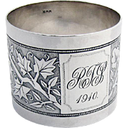 Chased Foliate Napkin Ring Sterling Silver Wood Hughes 1910