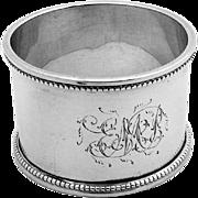 Edwardian Beaded Rim Napkin Ring Sterling Silver S Blanckensee Sons 1908