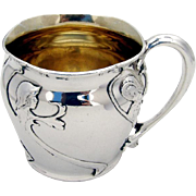 Girls Foliate Childs Cup Sterling Silver Gorham 1907