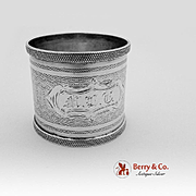 Beaded Engine Turned Napkin Ring Coin Silver 1870