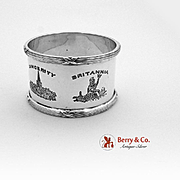 Ribbon Thread Crested Napkin Ring Sterling Silver James Deakin Sons 1936