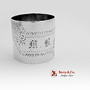 Large Heavy Engraved Napkin Ring Coin Silver Gorham 1865