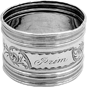 Engraved Napkin Ring Sterling Silver Gorham 1870
