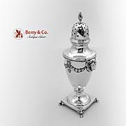 Ram Head Ornate Pepper Shaker Sterling Silver Shreve Co 1910