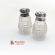 Floral Repousse Shaker Set Sterling Silver Cut Glass 1900