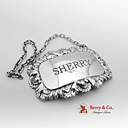 Sherry Bottle Label Tag Sterling Silver E P Co 1961