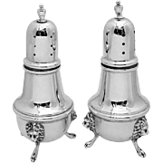 Lion Mask Salt Pepper Shaker Set Sterling Silver 2 Pieces Poole 1930
