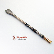 Ornate Mate Tea Straw 18K Gold 800 Silver Argentina 1950
