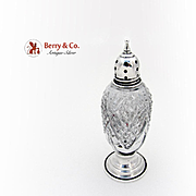 Tall Pepper Shaker Sterling Silver Pressed Glass Sheffield Silver Co 1940