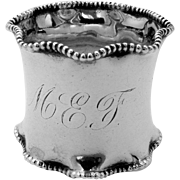 Wavy Beaded Napkin Ring Sterling Silver 1900