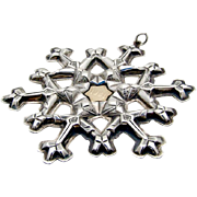 Gorham Snowflake Christmas Ornament Sterling Silver Gold Filled 1981