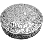 Aesthetic Engraved Rose Scroll Round Mirrored Compact 830 Silver 1910