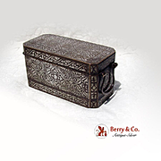Betel Nut Box Southern Philippines Inlaid Silver Brass 1900