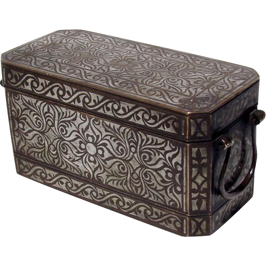 Betel Nut Box Southern Philippines Inlaid Silver Brass