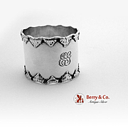 Shell Bordered Napkin Ring Sterling Silver Towle 1900