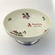 Moss Rose Salad Serving Bowl China Sterling Silver Rosenthal 1950