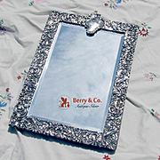 Amazing Ornate Openwork Scroll Rectangular Standing Mirror Sterling Silver Goldsmiths Silversmiths Co 1912