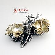 Amazing Ornate Figural Elk Open Salt Dish Sterling Silver Cassetti 1920