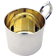 Scroll Handle Gilt Baby Cup Sterling Silver F B Rodgers Silver Co 1940