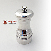 Elegant Pepper Grinder Sterling Silver Wood Steel 1940