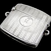 Engine Turned Match Safe Vesta Sterling Silver W. Neale Son 1915