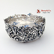 Ornate Openwork Floral Foliate Scroll Bowl Sterling Silver J E Caldwell 1890