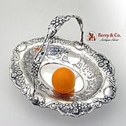 Ornate Floral Scroll Swing Handled Basket Sterling Silver Synyer Beddoes1900