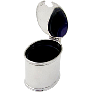 Oval Mustard Pot Sterling Silver Cobalt Blue Glass England 1945