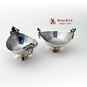 Medallion Oval Open Salt Dishes Sterling Silver Pair Gorham 1931