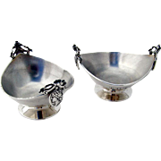 Medallion Oval Open Salt Dishes Sterling Silver Pair Gorham 1931