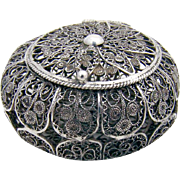 Ornate Filigree Rosary Box 800 Silver 1900