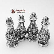 Ornate Heavy Cast Salt Pepper Shaker Set 800 Silver 4 Pieces Fratelli Coppini 1900