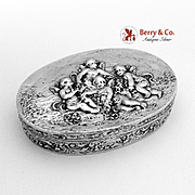 Cherubs Oval Dresser Box 800 Standard Silver Fratelli Coppini 1900
