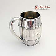 Figural Barrel Form Mug Coin Silver 1860