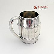 Figural Barrel Form Mug Coin Silver 1860