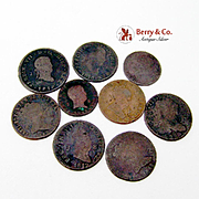 Spanish Coins Copper 9 Pieces 1800s