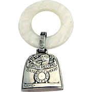 Birth Record Stork Baby Rattle Teething Ring Sterling Silver Faux Synthetic Mother Of Pearl 1920