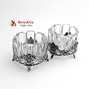 Dazzling Embossed Pierced Rose Scroll Open Salt Dishes German 835 Silver Cut Glass Pair FRL 1960