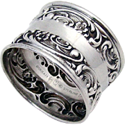 Embossed Rose Scroll Napkin Ring Sterling Silver Gorham 1950