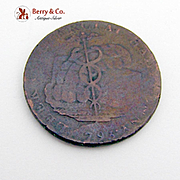 British Staffordshire Halfpenny Token Copper 1793