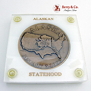 Alaska Statehood Commemorative Medal Bronze Metallic Art Co 1959
