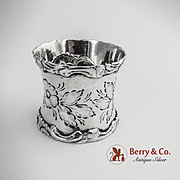 Embossed Floral Foliate Scroll Shell Napkin Ring Coin Silver 1860