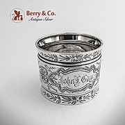Engraved Foliate Palmette Napkin Ring Coin Silver 1875