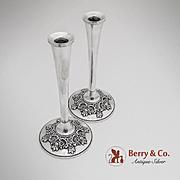 Du Barry Small Candlesticks Sterling Silver Pair International 1968