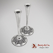 Du Barry Small Candlesticks Sterling Silver Pair International 1968