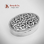 Small Oval Openwork Potpourri Box Sterling Silver Mappin Webb 1912